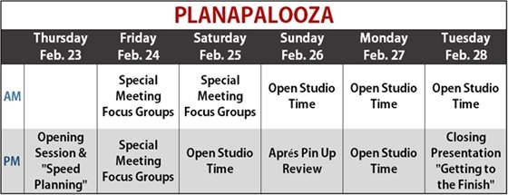 Planapalooza Schedule at a Glance
