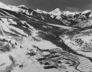 Black and white image of early Snowmass